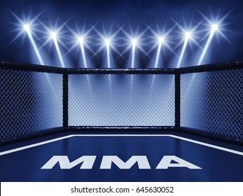 MMA cage mat illuminated by spotlights , Mixed martial arts fight night event , 3d illustration