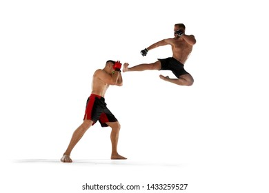MMA fighters isolated on white.