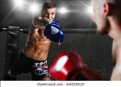 MMA fighters on ring
