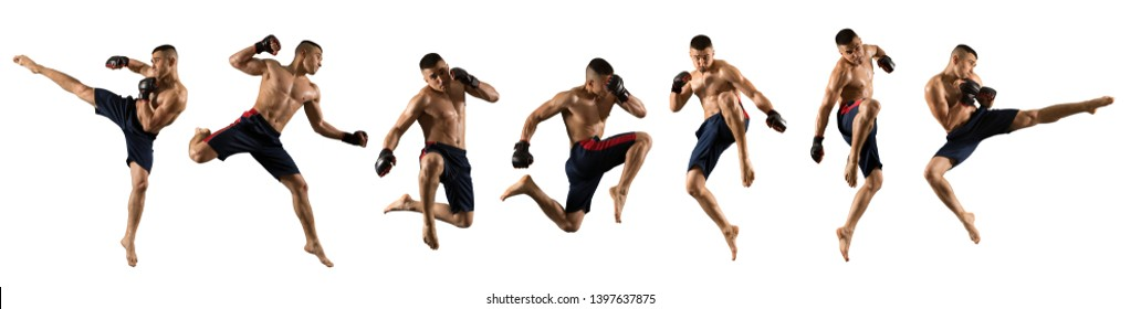 MMA male fighter isolated on white background