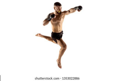 MMA. Professional fighter isolated on white studio background. Sport, competition, excitement and human emotions concept