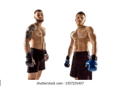 MMA. Two professional fightesr posing isolated on white studio background. Couple of fit muscular caucasian athletes or boxers fighting. Sport, competition, excitement and human emotions concept