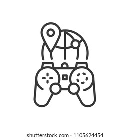 MMOG - line design single isolated icon on white background. High quality black pictogram, emblem of massively multiplayer online games. Image of a joystick and a globe