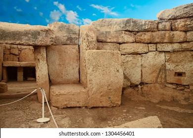MNAJDRA, MALTA - NOV 30, 2018 - Neolithic temples of Mnajdra, Malta