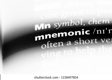 mnemonic word in a dictionary. mnemonic concept.