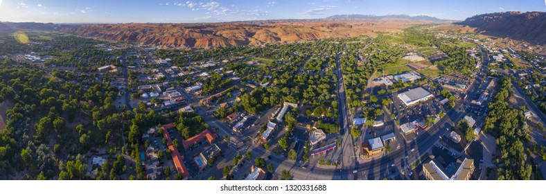 Moab city center and historic buildings panorama aerial view in summer, Utah, USA.