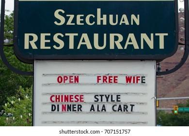 Moab, USA - August 16, 2017: Information board Szechuan Restaurant in Moab, USA