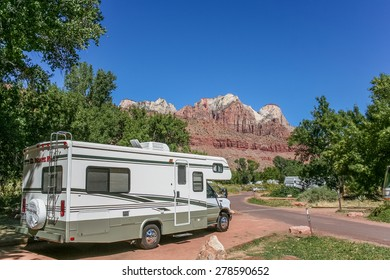MOAB, UT - SEPTEMBER 28: Motorhome on a campground in Zion National Park on September 28, 2006 in Moab.