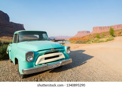 MOAB, UTAH, USA – JUNE 28,2017: Historic oldtimer in beautiful landscape at Colorado River near Moab, Utah, USA.