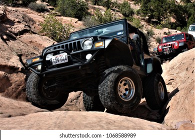 Moab, Utah, USA,September 11,2017: Black Rubicon Jeep on Kane's Creek 4x4  Trail.