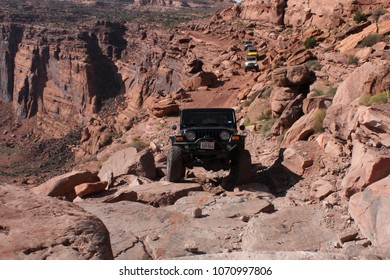 Moab, Utah, USA,September 15, 2017 :Jeeps  on the Cliffhanger 4x4 off road trail.