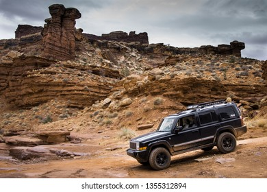 Moab, Utah/United States - March 20 2018:Jeep Commander Moab Utah Canyonlands National Park Shaffer Trail White Rim Trail Potash Trail
