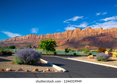 Moab,Utah,USA - July 17, 2013: Sunrise in tourist resort. Moab near the main entrance to the famous Arches National Park, Moab,USA.