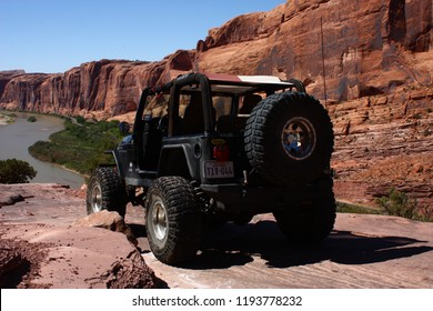 Moab,Utah,USA,September 17,2018,Black Rubicon Jeep on the Moab Rim Trail.