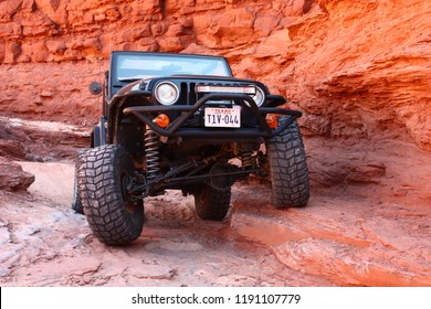 Moab,Utah,USA,September,16,2018,Black Rubicon Jeep on the 3D trail .