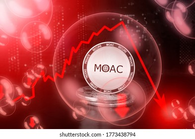 MOAC coin in a soap bubble. Risks and dangers of investing to MOAC cryptocurrency. Collapse of the exchange rate. Unstable concept. Down drop crash bubble. Down drop crash bubble
