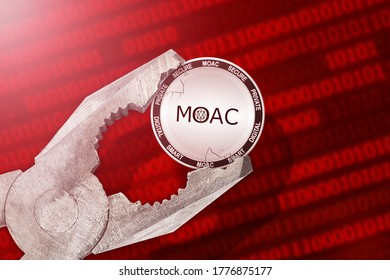 MOAC regulation, control; MOAC cryptocurrency coin being squeezed in vice, under pressure;