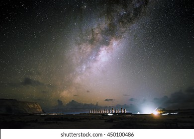 Moai at Ahu Tongariki with night sky and milky way background , Easter Island, Chile