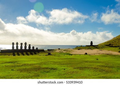Moai at Anakena Beach with the Pacific Ocean in the background on Easter Island, Chile