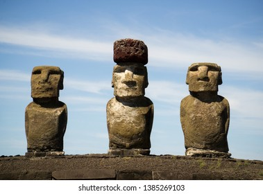 Moai with hat on easter island