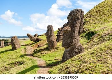 Moai heads in the quarry of the Rano Raraku volcano, Easter Island - Shutterstock ID 1638190309