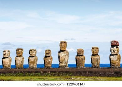 moai on Ahu Tongariki against blue sky in Easter Island, Chile