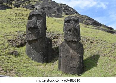 Moai on Easter Island at Rano Raraku