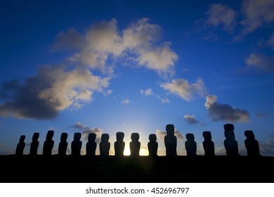 Moai on Easter Island and sunrise view