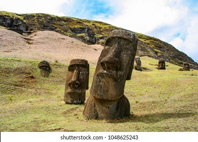 Moai on Rano Raraku on Easter Island