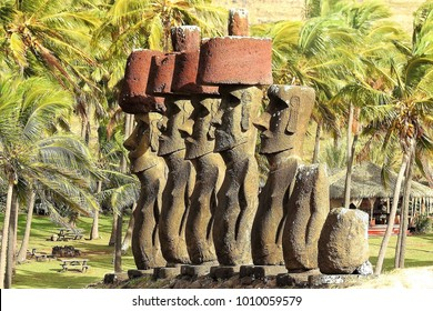 Moai Profiles and Palm Trees in the Morning Light at Anakena Beach, Easter Island