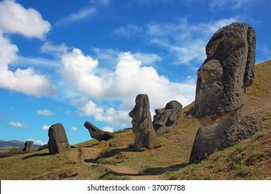Moai at Rano Raraku, Easter Island, Chile