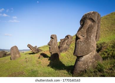 Moai at Rano Raraku on Easter Island - Shutterstock ID 1770160163