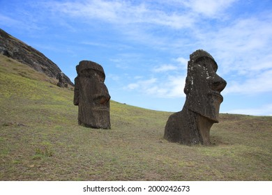 Moai at Rano Raraku on Easter Island, Chile - Shutterstock ID 2000242673