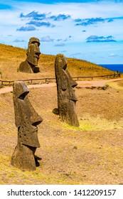 Moai at Rano Raraku in Rapa Nui National Park on Easter Island in Chile