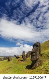 Moai in Rapa Nui National Park on the slopes of Rano Raruku volcano on Easter Island, Chile.