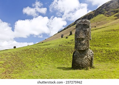 Moai in Rapa Nui National Park on the slopes of Rano Raruku volcano on Easter Island, Chile.