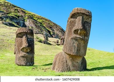 Moai set in the hillside at Rano Raraku. - Shutterstock ID 1607429008