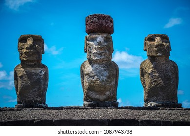 Moai Statues of Ahu Tongariki, Easter island, Chile from the Front in a bright Sunny Day of Summer 2016