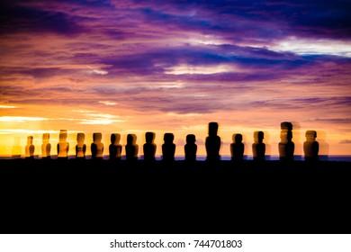 Moai statues of Easter Island