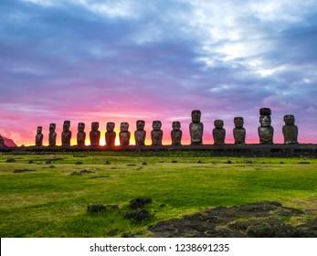 Moai statues on Easter Island. Ahu Tongariki against Blue Sky, Chile, South America