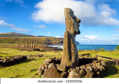 Moai statues on Easter Island at Ahu Tongariki in Chile