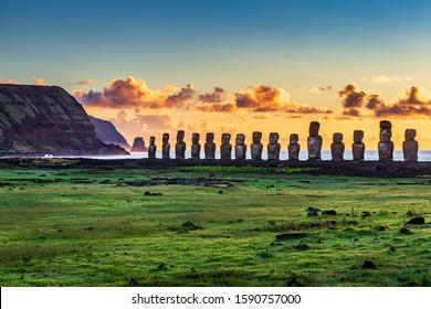 Moai statues in the Rano Raraku Volcano in Easter Island, Rapa Nui National Park, Chile - Shutterstock ID 1590757000