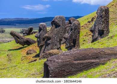 Moai statues in the Rano Raraku Volcano in Easter Island, Rapa Nui National Park, Chile - Shutterstock ID 1803644146