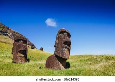 Moai statues in the Rano Raraku Volcano in Easter Island, Rapa Nui National Park, Chile