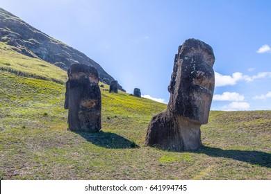Moai Statues of Rano Raraku Volcano Quarry - Easter Island, Chile