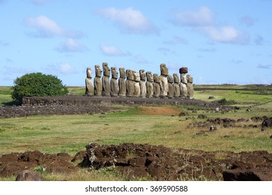 Moai statues standing to atention at Ahu Tongariki on Easter Island, Chile