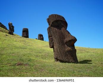 Moai, Stone Head sculpture in Rapa Nui, Easter Island, Chile.