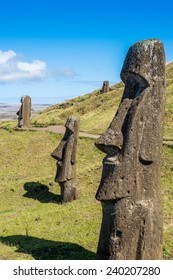 Moaia at Rapa Nui, Easter Island, Easter Island (Isla de Pascua), CHile. Unesco World Heritage