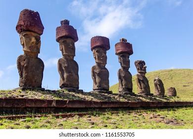 Moais of Ahu Nau Nau near Anakena Beach on Easter Island, Chile.