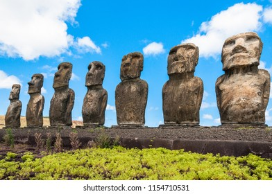 Moais of Ahu Tongariki, Easter island, Chile